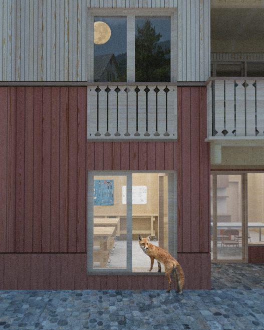 ein Fuchs schaut ins Fenster der Werkstatt der Eisengasse 51 Dornbirn OEOOO